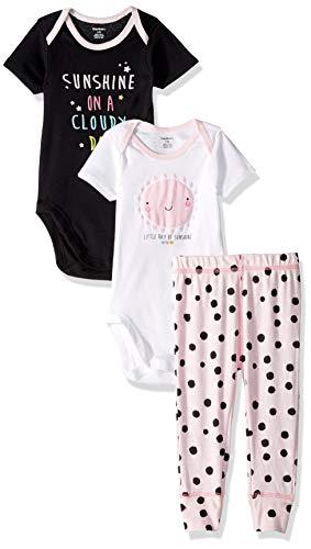 Gerber Baby Girls 3-Piece Onesies Bodysuits and Pant Set, Sunshine, Newborn