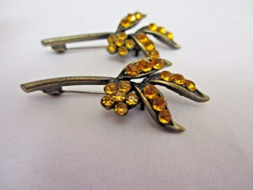 - 1 5/8'' Leaf Shaped Light Amber Lucite Rhinestone Pin Brooch (2 Pieces) #EK-430