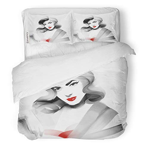 Semtomn Decor Duvet Cover Set Twin Size The Portrait of Old Fashioned Woman in Red Pin 3 Piece Brushed Microfiber Fabric Print Bedding Set Cover]()