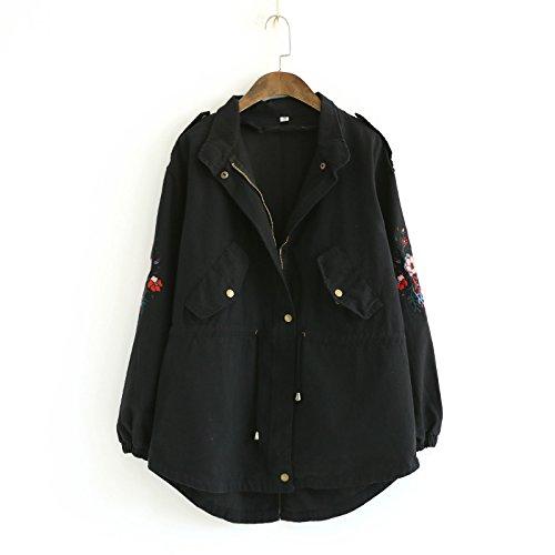 Flower Long Color Black Coat DYF Zipper Hat Pocket sleeve Embroidery Solid Lapel 0fqBvw