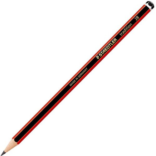 Staedtler 110-2B - 110 Tradition 2B Pencil Black Red 110-2B - (PK12)