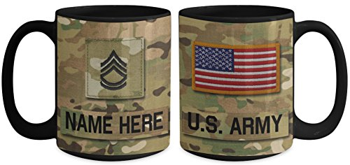 Sergeant Coffee Mug (US Army Sergeant First Class (SFC), E7 Mug - Personalized - Customize with Name/Text/Rank; 15 oz Cup - Gift for Veteran, Dad, Husband, Mom, Wife, Brother, Sister, Son, Daughter)