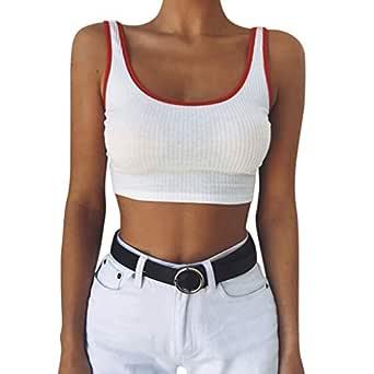 Chaleco de Mujer Camiseta Sin Mangas Color sólido Cuello Redondo ...
