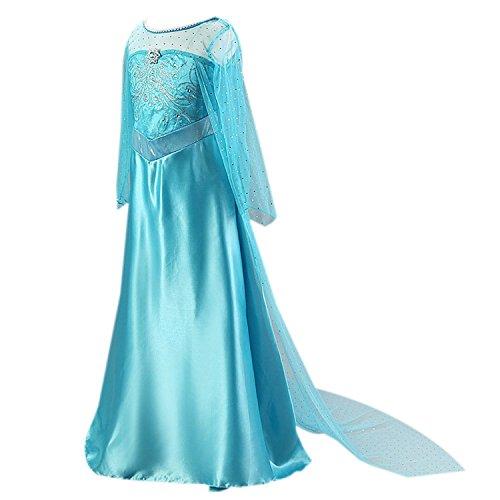 Frbelle® Vestido de Fiesta de Noche Largo Disfraz para Boda Ceremonia Cosplay Fiesta Halloween Disfraz de Cumpleaños para Niñas de 2 3 4 5 6 Años Azul Talla ...