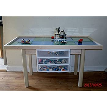 Amazon.com: Lego activity Table with storage Drawers, solid wood ...