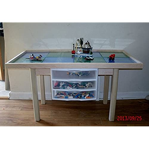 Lego Activity Table With Storage Drawers, Solid Wood, Heavy Duty,removable  Base Plates, 2 Tables In 1