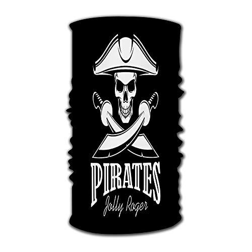 Unisex Stylish Pirates Black Flag Poster Symbol of Jolly Roger Skeleton Skull in Tricorn Or Tricorne Captain Pirate Quick Dry Headwear Outdoor Magic Bandana Headband