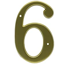 Satin Brass Baldwin 90676040 76# 6 House Number