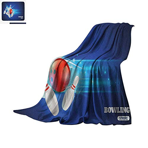 Luoiaax Bowling Party Digital Printing Blanket Bowling Strike Image Red Ball and Classical Pins in Vivid Composition Oversized Travel Throw Cover Blanket 80