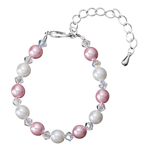 Delicate Silver Plated Newborn Baby Girl Pearl Bracelet -with White and Pink Glass Pearls and Crystals - Perfect for Baby Shower Gifts, New Baby Gifts