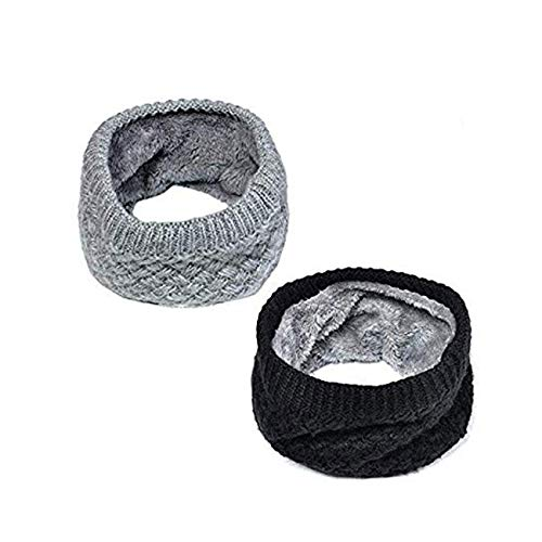 Lo Shokim Harsh Winter Double-Layer Soft Fleece Lined Thick Knit Neck Warmer Circle Scarf Windproof, 2 Pack Black & Grey