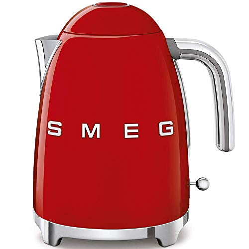 Smeg KLF03RDUS 50's Retro Style Aesthetic Electric Kettle with Embossed Logo, Red (Renewed)