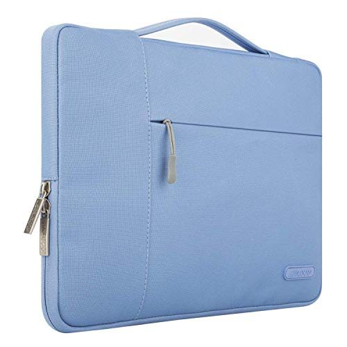 MOSISO Laptop Sleeve Compatible with 13-13.3 inch MacBook Air, MacBook Pro, Notebook Computer, Polyester Multifunctional Briefcase Carrying Bag, Serenity Blue