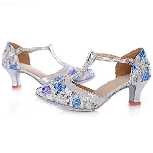 Azbro Mujer Zapato de Baile Floral Latín con Puntera Punta Azul