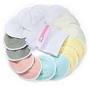 """BabyBliss Bamboo Rayon Nursing Breast Pads - 14 Washable Pads with Storage & Wash Bags - Reusable Breastfeeding Nipplecovers - Leak-Proof Nipple Pads for Maternity (L, 4.7"""")"""