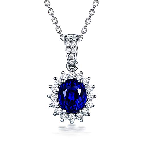 Beydodo 18K Necklace White Gold with Diamond Vintage Flower Pendant with Sapphire