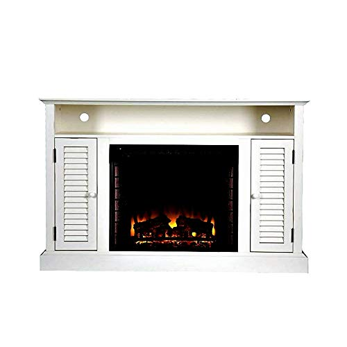 ghy Fireplace Console White Antique Electric Tv Stand Buffet Console Glass Screen Heater Log Remote Control Indoor Living Room Office Elegant & eBook by ()