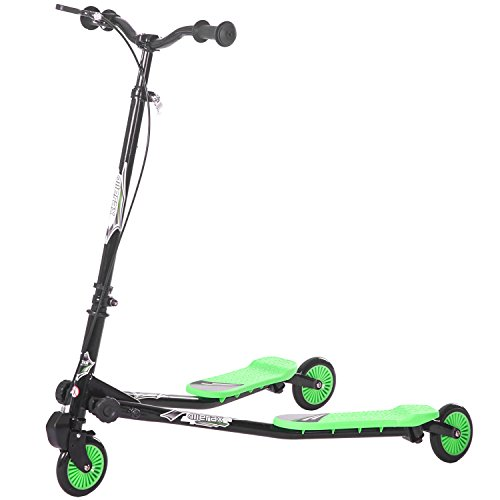 Merax Kids 3 Wheels Foldable Swing Dragon Tri Scooter Winged Push Motion (Black&Green) (3 Wheel Scooters For Kids)