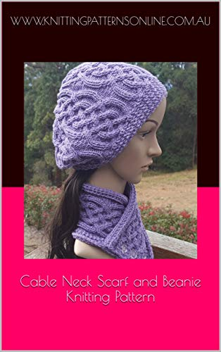 Cable Neck Scarf And Beanie Knitting Pattern Sapphire Kindle