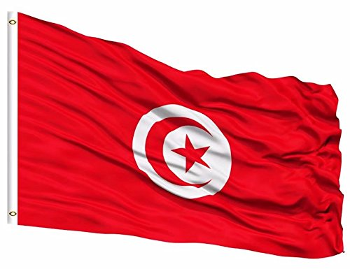 DFLIVE Tunisia Flag 3x5 ft Printed Polyester Fly Tunisian Flag Banner with Brass Grommets