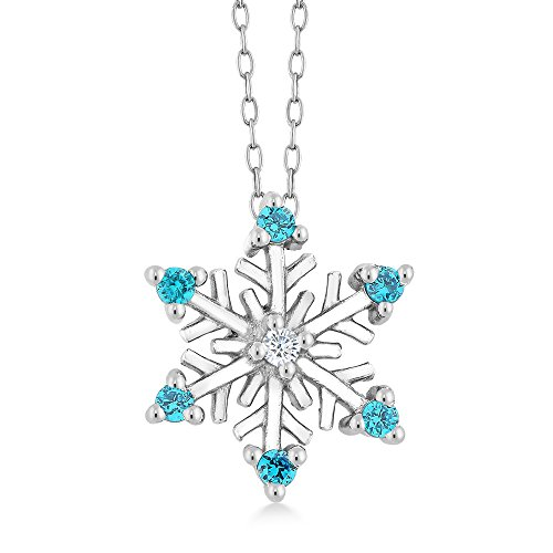Sterling Silver Diamond Accent Snowflake Pendant With Blue CZ on 18