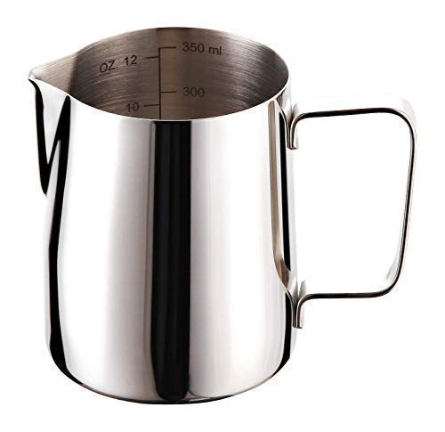 Joytata Milk Frothing Pitcher 12oz/350mL 18/8 Stainless Steel Froth Pitcher Double Measurement Scales Cup Perfect for Latte Art,Espresso Maker,Cappuccino Maker Milk Frother Pitcher Steaming ()