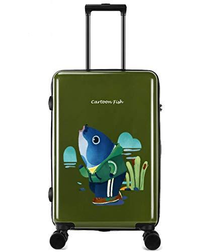 ユニバーサルホイールトロリーケースラゲッジスモールフレッシュ24インチスーツケース (Color : グリーン)  グリーン B07QHV8Y5K