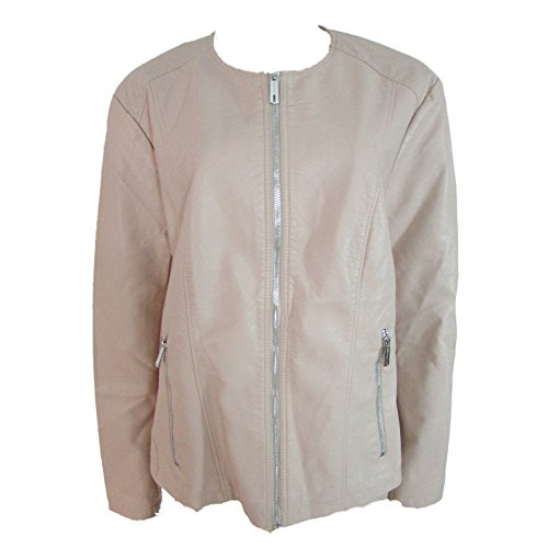 (Kenneth Cole Reaction Womens Faux Leather Jacket X-Large Champagne)
