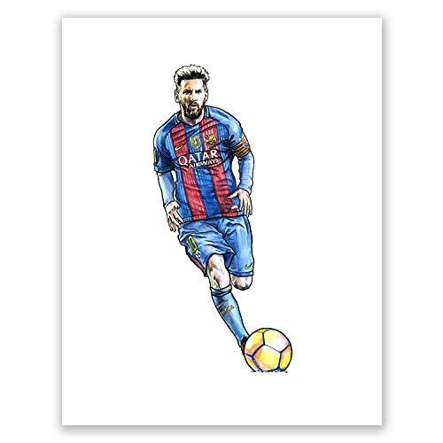 AtoZStudio A52 Lionel Messi Poster // Art Print // Soccer Wall Decor // Football Player // Famous Picture // Barcelona Fan Gift // Sport -