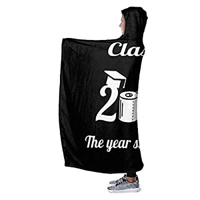 Child Goods Class of 2020 Quarantined Graduation Senior Quarantine Hooded Plush Blanket Double-Sided Super Soft Throw 60