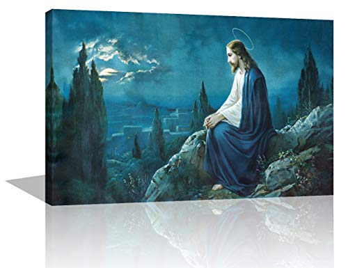 - Jesus in Gethsemane Paintings Extra Large Wall Pictures for Living Room Jesus in Garden Artwork Framed 1 Panel Artwork Print On Canvas Home Decor Modern Gallery-Wrapped Ready to Hang (16''X24'')