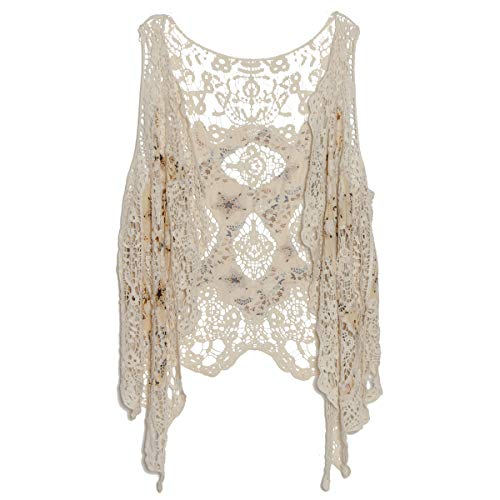 jastie Open Stitch Cardigan Boho Hippie Crochet Vest (Star), Medium
