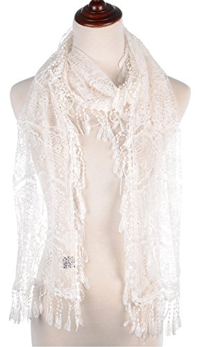 BYOS Womens Delicate Victoria Vintage Inspired Fan Pattern Lace Scarf (White) by Be Your Own Style (Image #1)