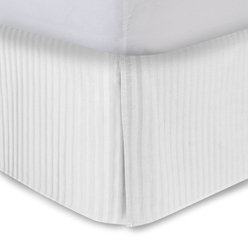 "Harmony Lane Tailored Bedskirt with 18"" Drop, Full Size, White Sateen Stripe Bed Skirt with Split Corners (Available in and 10 Colors)"