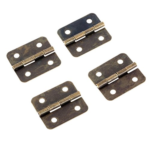 Dophee 12pcs Antique Brass Jewelry Gift Wood Box Cabinet Drawer Hinge & Screws Tool ()