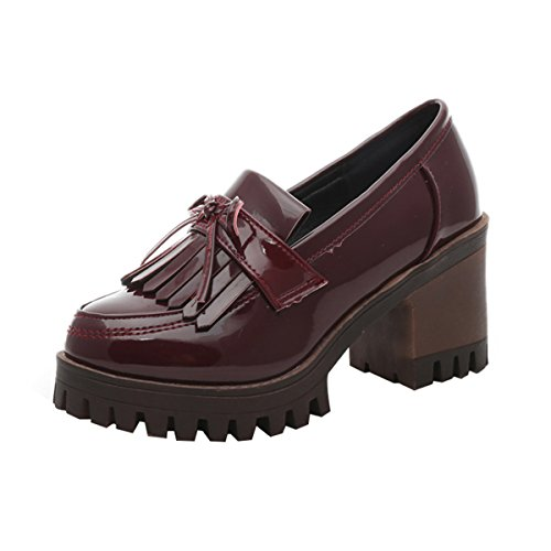 Tassels Mid by Women Time Heels Oxfords Shoes Wine Dear Red Platform Chunky I1SCwq
