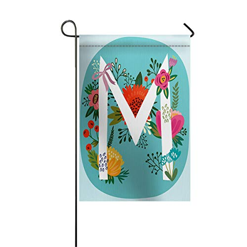Letter M Monogram Garden Flags House Banner Decorative Flags Home Outdoor Valentine, Alphabet Symbol with Floral Background, Welcome Holiday Yard Flags, Double Sides 28 x 40inch