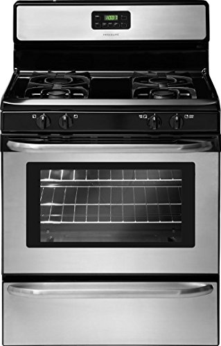 "Frigidaire 4-Piece Stainless Steel Package with FFTR1821TS 30"" Top Freezer Refrigerator, FFGF3047LS 30"" Gas Range, FFBD2412SS 24"" Full Console Dishwasher and FFMV164LS 30"" Over The Range Microwave"