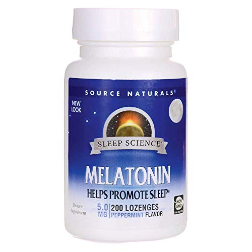 (Melatonin 5mg Sublingual-Peppermint Source Naturals, Inc. 200 Lozenge)