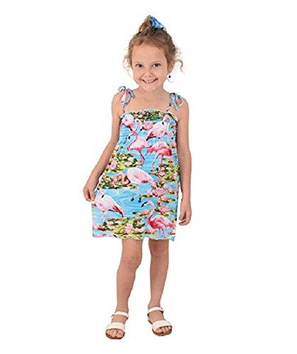 ISLAND STYLE CLOTHING Girls Tube Dress Turquoise Flamingo (Turquoise Tube Dress)