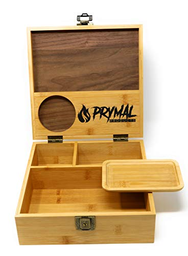 Prymal Products Extra Large Stash Box with Lock and Key and Rolling Tray – Premium Black Walnut and Durable Bamboo Wood – Organize Your Accessories