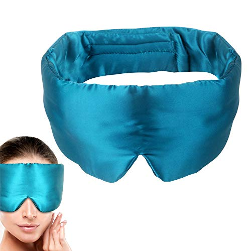 100% Light Blocking Silk Satin Sleep Mask with Earplugs ,Soft Night Mask Eye Cover for Sleeping,...