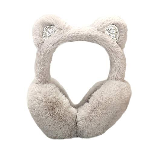 Yezijin Women Winter Warm Soft Stretch Cartoon Cat Ears Design Windproof Warm Adjustable Earmuffs (Gray)