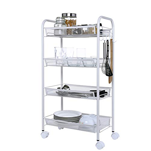 micoe Mesh Rolling Storage Cart 4 Tier Steel Utility Serving Rack with Wheels for Kitchen Office Bedroom Bathroom Washroom LWCT4001