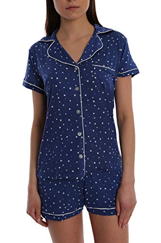 Women's Printed Short Sleeve Button Down Sleep Shirt & Shorts PJ Set - Navy Star - Small