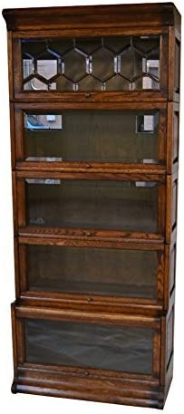 Crafters Weavers Arts and Crafts Solid Oak 5 Stack Barrister Bookcase with Leaded Glass