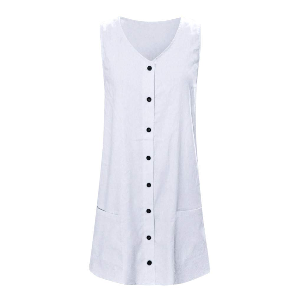 White L YKDDKK Linen Dress Women Loose Summer Sundress Ladies Shirt Dress With Button Pocket V Neck Female Casual Straight Elegant Women's Skirts Add Temperament To You
