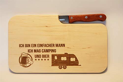 41r8 zcaviL Beschdstoff/Schneidebrett mit Messer/Camping und Bier/Größe 26 x 15 x 12 cm Wohnwagen Motiv