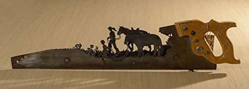 Metal Art Two people leading their horses - two layers - Hand (plasma) cut handsaw | Wall Decor | Garden Art | Recycled Art | Re-purposed | Made to Order