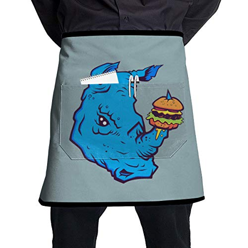 Lodve Hvst Rhino with Cheeseburger Kitchen Apron Adjustable Cooking Chef Bib with Pockets ()